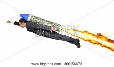Businessman on dollar bill rocket to launch the economy concept.