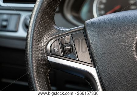 Novosibirsk/ Russia - May 03 2020: Brilliance V5, New Black Steering Wheel With Multifunction Button