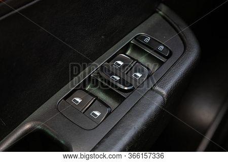 Novosibirsk/ Russia - May 03 2020: Brilliance V5, Interior Of Modern Car. Side Door Buttons: Window,