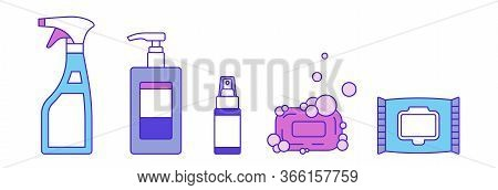 Types Of Disinfection - Vector Set, Isolated Illustration. Liquid Soap In Dispenser Bottle. Spray Sa