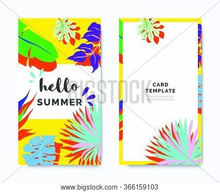 Hello Summer Invitation Card Template Design, Tropical Plants On Yellow Background, Colorful Vibrant