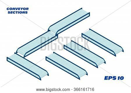Sections Of Conveyor Belt In Isometry. Constructor Isolated Vector On White Background