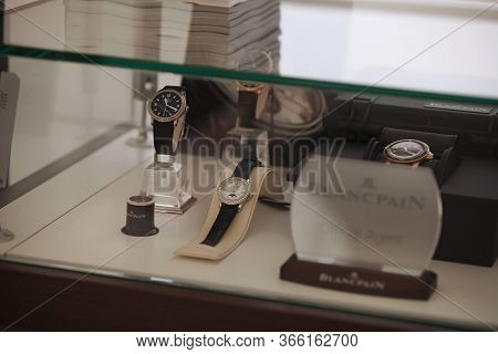 London, England - March 8, 2019: Blancpain Fifthy Fathoms Sports Diving Timepieces On Display At A T