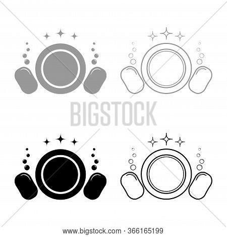 Dishwashing Concept Clearing Dishes Plate Washcloth Sponge