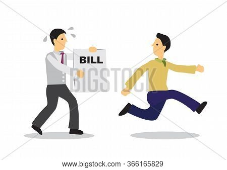 Businessman Running Away From A Man With A Bill. Business Concept Of Escape Or Debt. Flat Isolated V