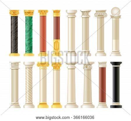 Realistic Antique Pillars Set. Antique Column, Classic Pillar.