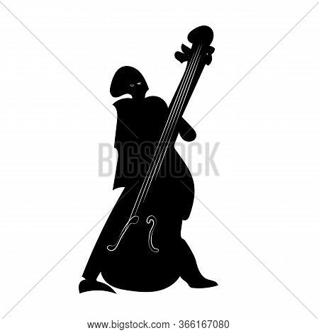 Silhouette Of A Jazz Bass Player Isolated On A White Background. Jazz Theme. Bass Musician. Vector I