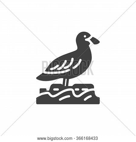 Gull Bird Vector Icon. Filled Flat Sign For Mobile Concept And Web Design. Sea Gull Glyph Icon. Symb