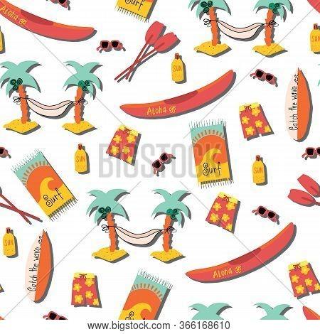 Beach Day Seamless Vector Pattern. Palm Tree Hammock, Surfboard, Canoe, Boardshorts, Beach Towels, S