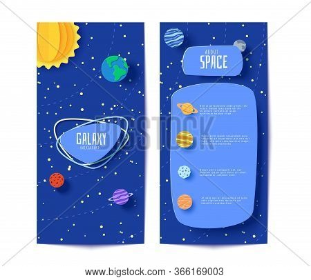 Solar System Flyers In Paper Cut Style. Cartoon Planets, Red Polygonal Rocket And Origami Ufo. 3d Ve