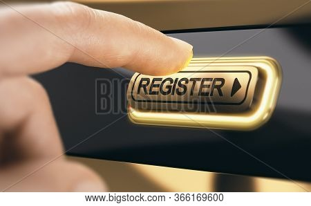 Finger Pressing A Golden Register Button To Become A New Member Of An Organization. Concept Of Membe