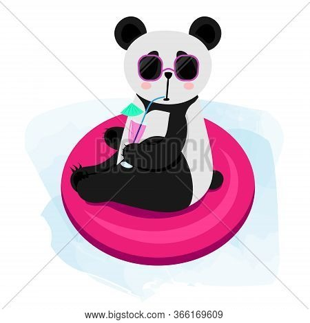Cute Cartoon Panda Swims In The Pool. Panda In Glasses Drinks A Cocktail. Vector Illustration Isolat