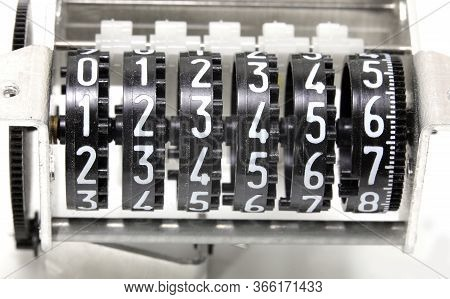 Analog Meter With The White Numbers From Number One To Six
