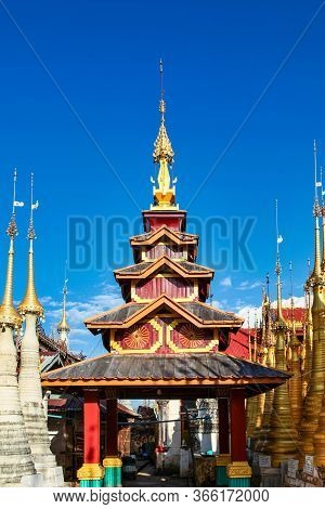 Ruins Of Ancient Stupas Of Shwe Indein Pagoda Over Blue Sky. Indein Village, Inle Lake, Shan State,