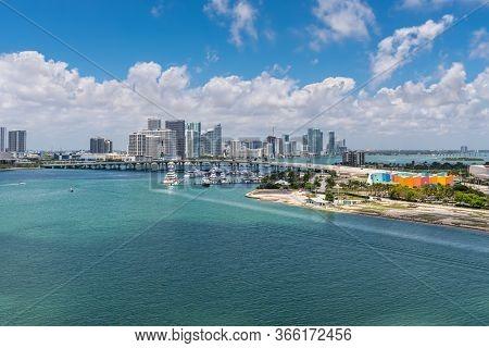 Miami, Fl, United States - April 20, 2019: Miami City Skyline Viewed From Dodge Island At Biscayne B