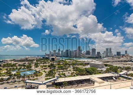 Miami, Fl, United States - April 27, 2019: Downtown Of Miami Skyline Viewed From Dodge Island With C