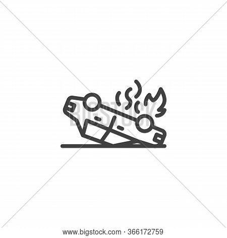 Overturned Car Line Icon. Linear Style Sign For Mobile Concept And Web Design. Car Accident Outline