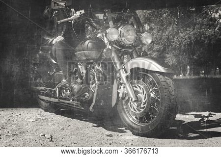 Biker Riding A Motorcycle. View Of Bike And Legs In Leather Cowboy Boots. Vintage Film Look
