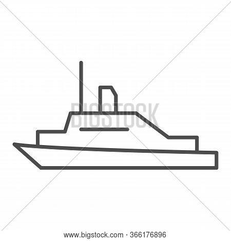 Pleasure Boat Thin Line Icon, Sea Transport Symbol, Yacht Vector Sign On White Background, Speed Boa
