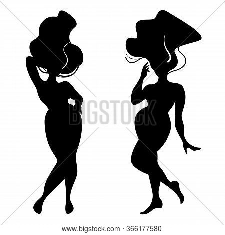 Silhouettes Of Standing Women Body With Size Plus And Hair. Body Positive In Black Color Isolated On