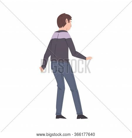 Young Man Standing Wearing Casual Clothes, View From Behind Vector Illustration