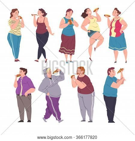Happy Fat People Eating Fast Food Set, Cheerful Obese Men And Women Enjoying Of Eating, Unhealthy Di