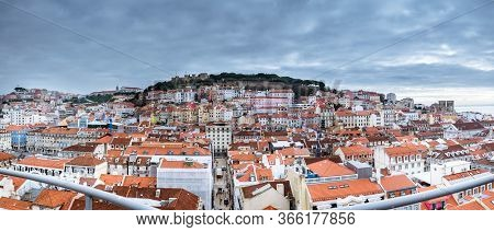 March 1, 2017. Lisbon, Portugal: Wide Angle Panoramic View From The Santa Justa Lift Elevator To The