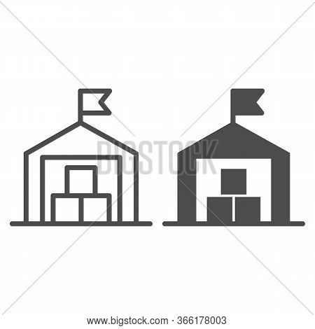 Warehouse Line And Solid Icon, Transportation Delivery Service Symbol, Storage Building With Flag Ve