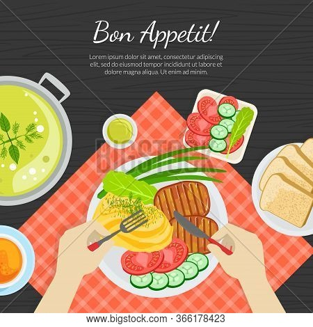 Bon Appetit Banner Template, Top View Of Person Eating Delicious Dishes Banner Vector Illustratio