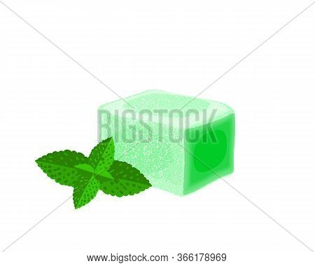 Turkish Delight, Lokum. Traditional Oriental Sweet Candy With Mint. Vector Illustration Cartoon Icon