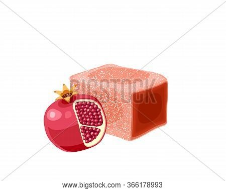 Turkish Delight, Lokum. Traditional Oriental Sweet Candy With Pomegranate. Vector Illustration Carto