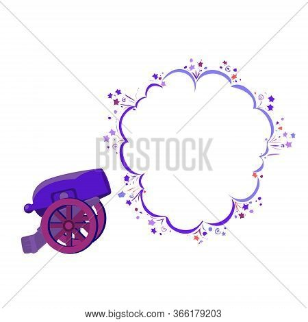 Shot From An Ancient Cannon With Speech Bubble Place, Isolated On White,