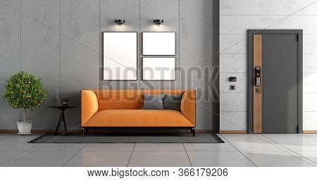 Home Entrance With Front Door And Orange Modern Sofa Against Concrete Wall - 3d Renderig