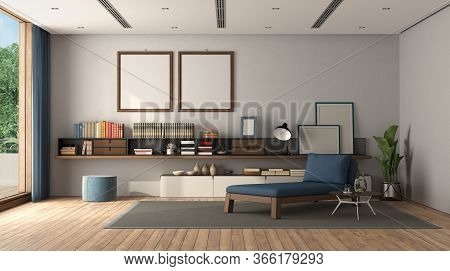 Minimalist Living Room With Sideboard , Chaise Lounge And Air Conditioning System On The Ceiling - 3