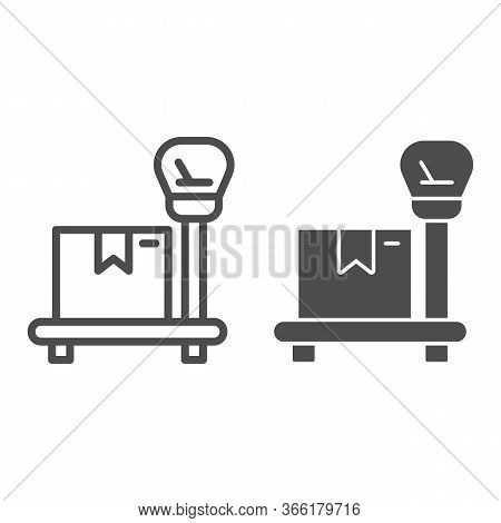 Package On Scales Line And Solid Icon, Delivery And Logistic Symbol, Industrial Cargo Weight Scale V