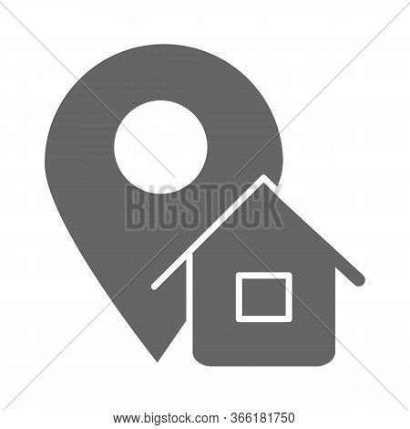 Address Solid Icon, Logistics Symbol, Map Pointer With House Vector Sign On White Background, Home A