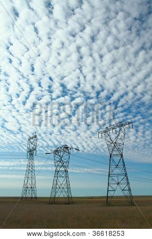Three Electrical Power Pylons