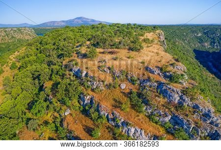 Aerial View Of The Plateau Above Krka River Canyon Located In Promina County At Dalmatian Zagora In