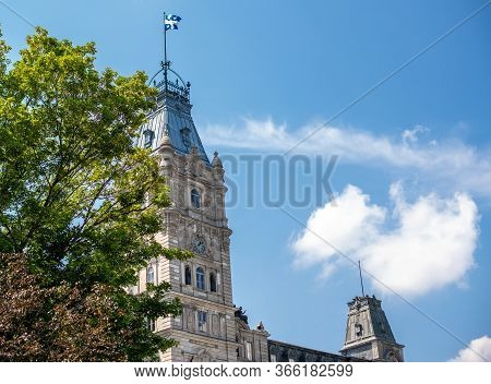 Parliament Of Quebec With Its Nice Tower. The Jacques Cartier Building Is A Old And Huge House Where