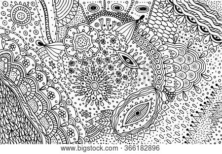 Black And White Doodle Outline Abstract Pattern. Coloring Page With Outline Abstract Detalized Ornam
