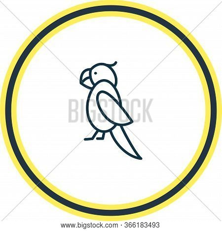 Vector Illustration Of Parrot Icon Line. Beautiful Zoology Element Also Can Be Used As Cockatoo Icon