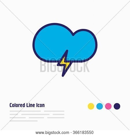 Vector Illustration Of Stormy Weather Icon Colored Line. Beautiful Sky Element Also Can Be Used As T