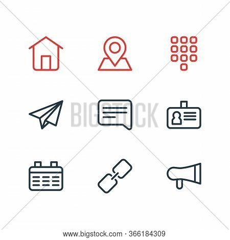 Vector Illustration Of 9 Connect Icons Line Style. Editable Set Of Link, Location, Bullhorn And Othe