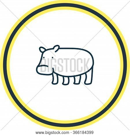 Vector Illustration Of Hippo Icon Line. Beautiful Zoology Element Also Can Be Used As Hippopotamus I