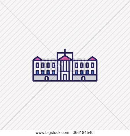 Illustration Of Buckingham Palace Icon Colored Line. Beautiful Culture Element Also Can Be Used As G