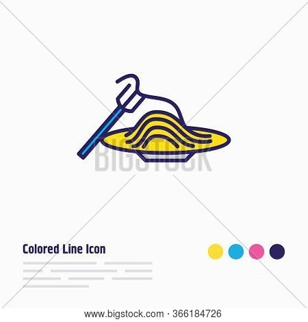 Vector Illustration Of Pasta Icon Colored Line. Beautiful Lifestyle Element Also Can Be Used As Spag