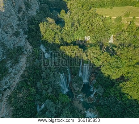Aerial View Of The Canyon Of Waterfall Located Downstream Of Bilusic Buk In Promina County.
