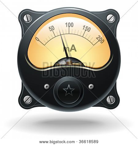 Electronic analog VU signal meter, realistic vector