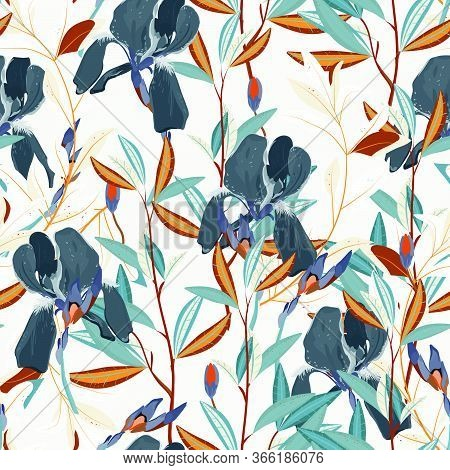 Seamless Vector Floral Pattern. Arrangement Lilac Iris Flowers By Delicately Green Leaves On A White