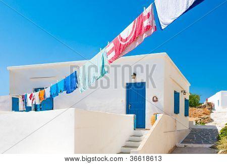 Laundry Line Outside Greek Island House
